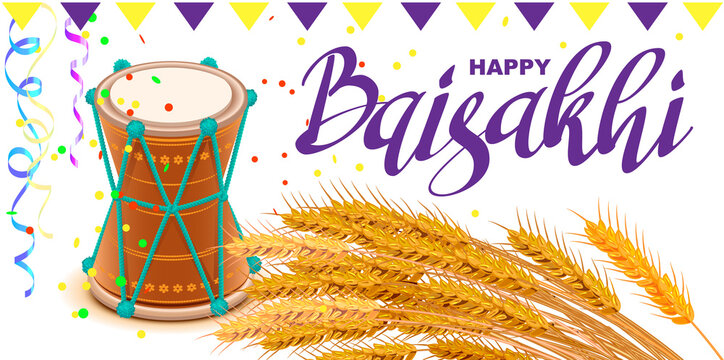 Happy Baisakhi text greeting card. Indian harvest festival drum and wheat rice