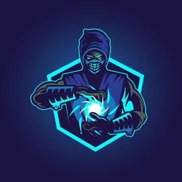 Blue Ninja vector illustration symbol insignia