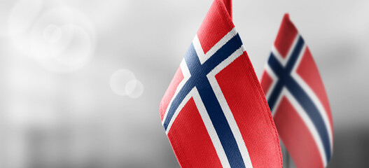 Small national flags of the Norway on a light blurry background