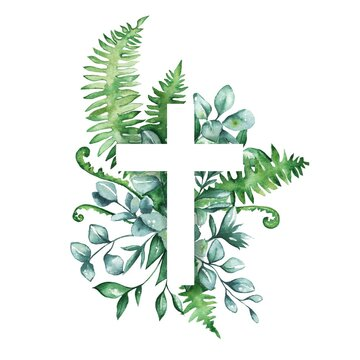 Watercolor illustration. Cross with leaves, eucalyptus, herbs. Baptism, easter, church, Christianity, cards, invitations