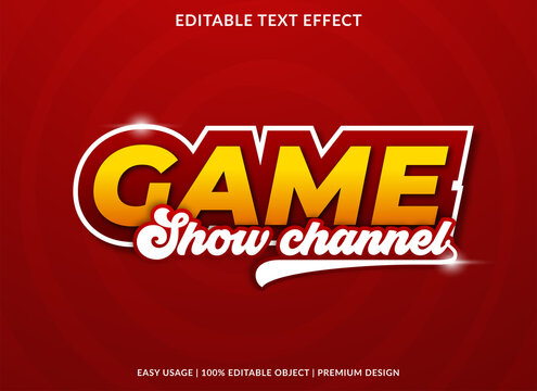 game show channel text effect template with bold style use for business brand and logo