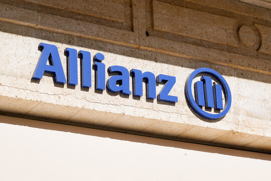 allianz insurance sign logo and text on agency wall store office brand financial services providers