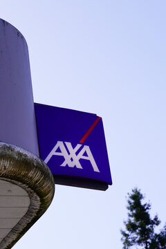 axa logo brand and text sign French multinational insurance office building agency