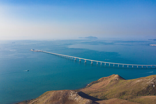 aerial view of Hong Kong-Zhuhai-Macao Bridge, the longest sea crossing and the longest open-sea fixed link in the world