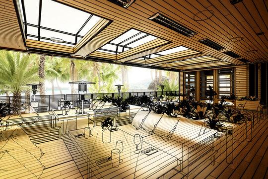Terrace Restaurant Area Inside a Subropical Resort (illustration) - 3D Visualization