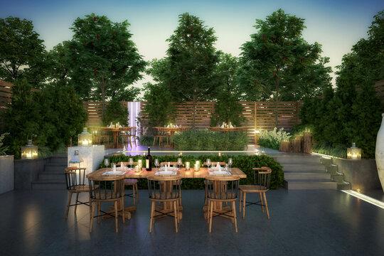 Garden Restaurant - 3d visualization