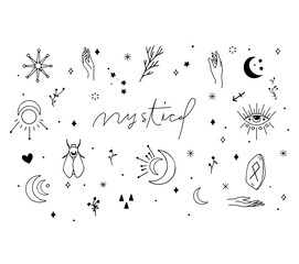 Obraz Digital pack containing hand-draw mystical elements. Hand drawn design. Cute Vector illustration design. - fototapety do salonu
