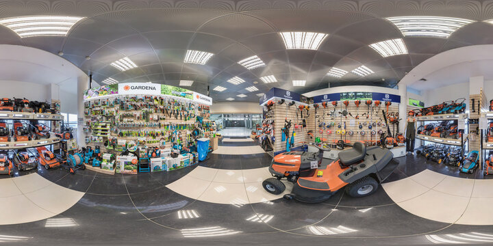 MINSK, BELARUS - APRIL, 2017: full seamless spherical panorama 360 angle degrees view in interior luxury vacuum cleaner store and garden accessories in equirectangular projection, VR content