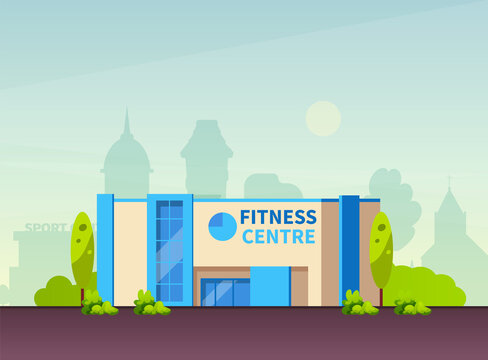 Municipal Gym buildings. Fitness center modern architecture building, sport house in summer urban landscape of cityscape cartoon vector