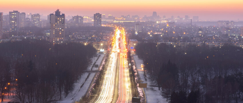 Minsk roofs of houses at sunset