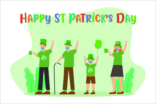 St patrick's day in new normal vector concept: Happy family celebrating st patrick's day together while wearing face mask in new normal