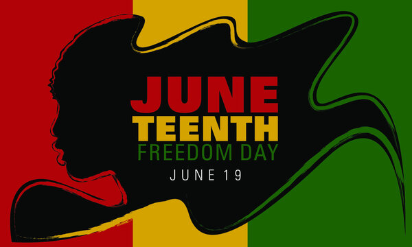 Juneteenth simple typography on a wavy hairstyle of a black figure