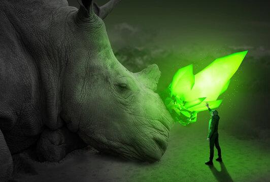 Man has unreal encounter with giant Rhino