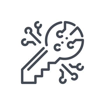 Digital secure key line icon. Key for bitcoin crypto wallet vector outline sign.