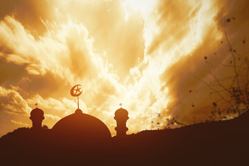 Silhouette of a mosque Wall mural