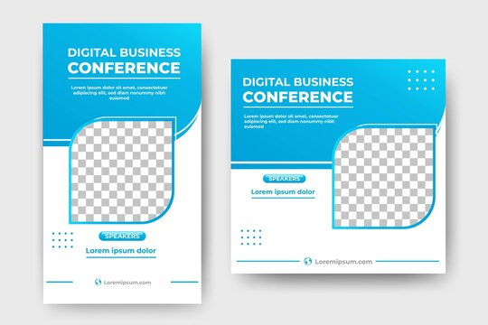 Editable social media post template design for a business conference. Usable for social media feed, story, flyers, and banners. Vector illustration with photo collage.