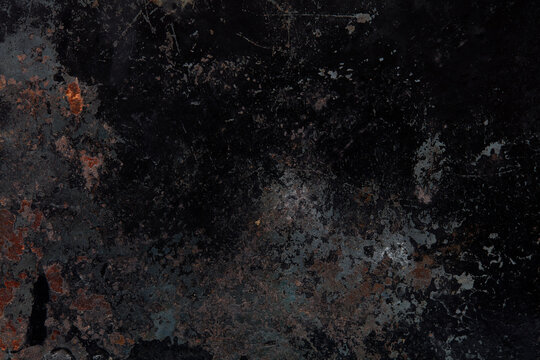 Black, rusty and corroded metal texture background
