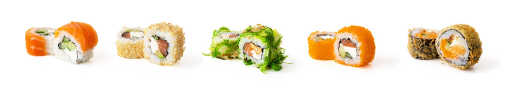 Set of sushi rolls isolated on white background
