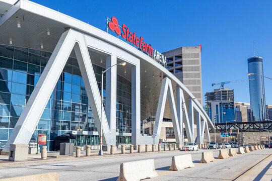Atlanta, USA - Jan 18th 2021: View of the State Farm Arena in the city of Atlanta, Georgia