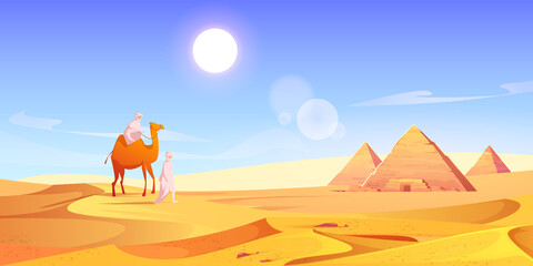 Two men and camel in Egyptian desert with pyramids. Vector cartoon illustration of landscape with arabic bedouins, yellow sand dunes, ancient pharaoh tombs and hot sun in sky - fototapety na wymiar