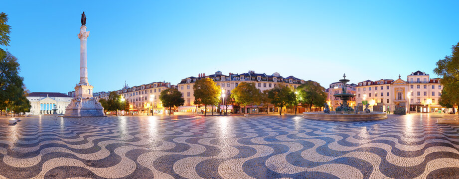 Panorama of Rossio square at night