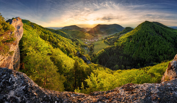 Panorama of forest and mountain in Carpathian with sun, Slovakia