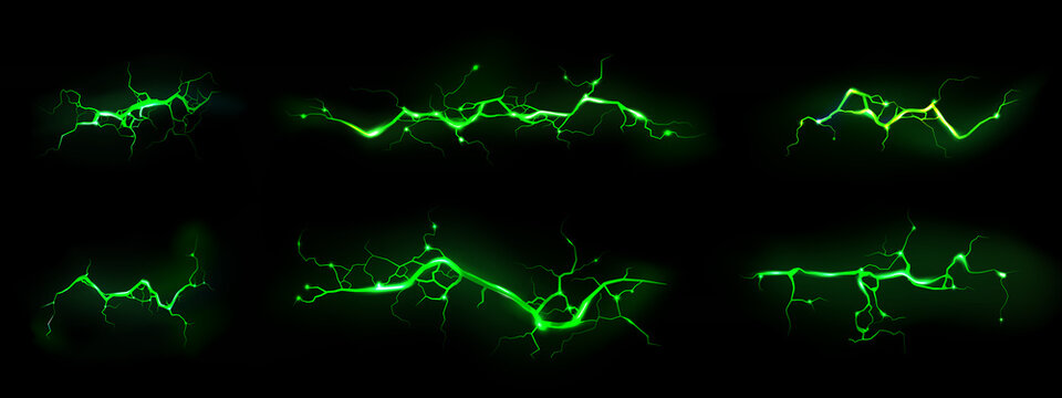 Lightnings, thunderbolt strikes isolated on black background. Vector realistic set of horizontal ground cracks with magic green glow. Electric impact, sparking discharge of thunderstorm at night