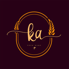 Obraz KA Initial handwriting logo. Hand lettering Initials logo branding with wreath, Feminine and luxury logo design isolated on elegant background. - fototapety do salonu