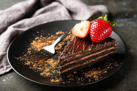 Chocolate cake with fresh strawberries