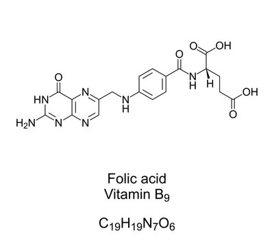 Folic acid, vitamin B9, chemical formula and structure. Converted by the body to folate. Used as dietary supplement, in food fortification, to treat anemia, and during pregnancy. Illustration. Vector.