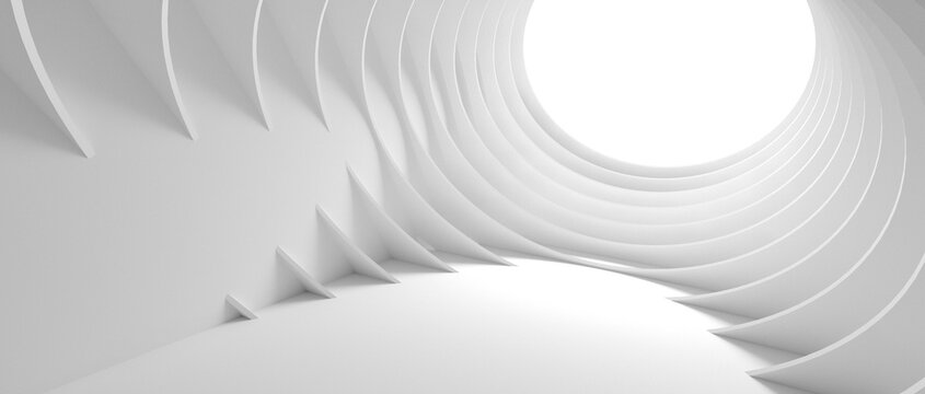 Abstract Architecture Background. 3d Illustration of White Circular Building. Modern Geometric Wallpaper. 3d rendering
