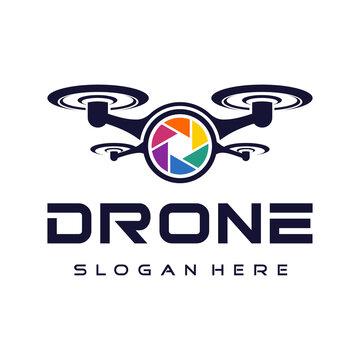flying drone logo design vector.