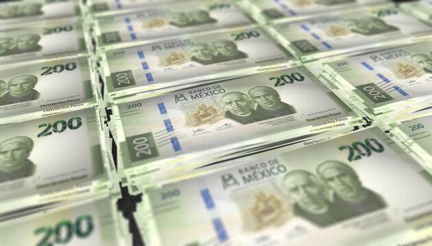 3D Bunch of Mexico 200 Pesos Money Banknote