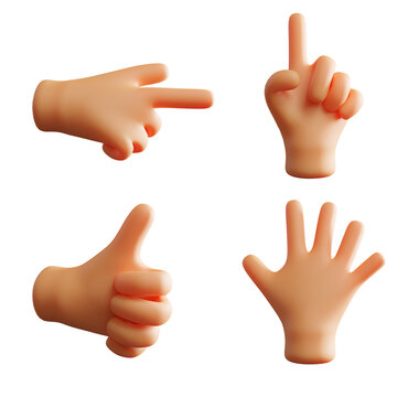 Hand Gesture Cute 3D Rendering Pointing Index Finger Thumb Up Pack