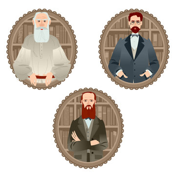 History of Russia. Famous Russian writers. Leo Tolstoy, Fyodor Dostoevsky, Anton Chekhov.