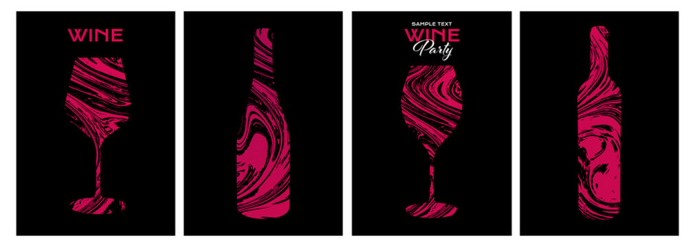 Set of design templates with wine glass and bottle illustration. Creative and artistic background texture with lines that simulate the skin of a grape vine.