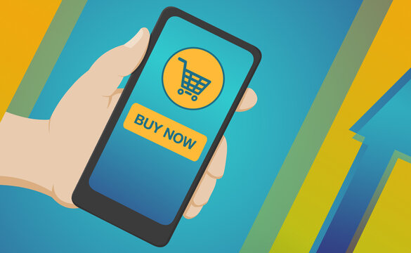 Mobile phone with buy now button for online shopping with blue and yellow background. Flat cartoon illustration of a hand holding smartphone for pay e-commerce shopping