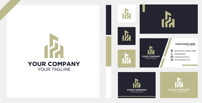 Logo Design of Real Estate and Business Card Template