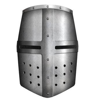 Crusader knight helmet isolated 3d illustration