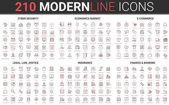 180 modern red black thin line icons set of legal, law and justice, insurance, banking finance, cyber security, economics market, e commerce collection vector illustration.