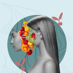 Contemporary art collage. Beautiful young girl and red yellow flowers isolated on light background. Black and white portrait. Copy space for text, ad. Side view. Square composition. Modern artwork.