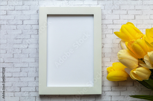 White frame mockup flat lay simple clean for Spring, Nursery, Art, Wedding, Party, Mother's Day, Sale