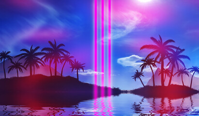 Abstract futuristic background. Silhouettes of palm trees on a tropical island are reflected on the water, neon shapes against the background of an ultraviolet cloud. Beach party. 3d illustration
