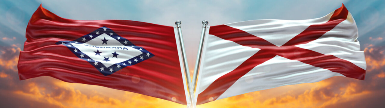 Arkansas flag and Alabama flag States of America waving with texture sky Cloud and sunset double flag