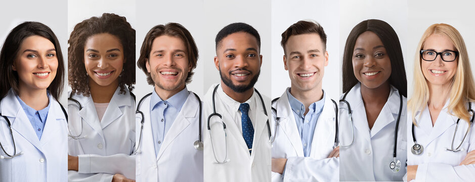 Collection Of Professional Doctors Portraits Posing On Gray Backrounds, Collage