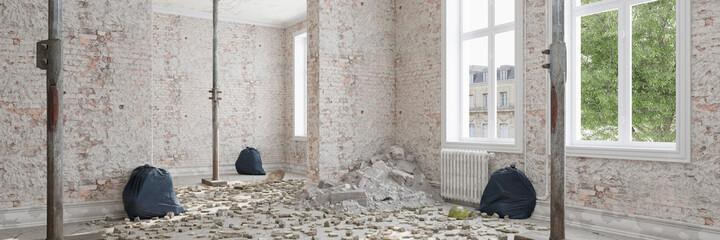 Obraz Building rubble when renovating or renovating an apartment - fototapety do salonu