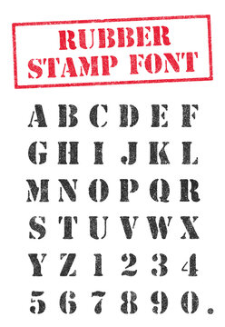 Vector illustration of an stencil rubber stamp font