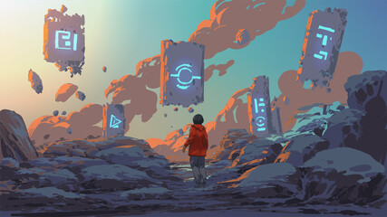 boy standing and looking at the magic rocks floating in the sky, vector illustration