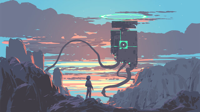young man standing and looking at a giant sentinel robot, vector illustration