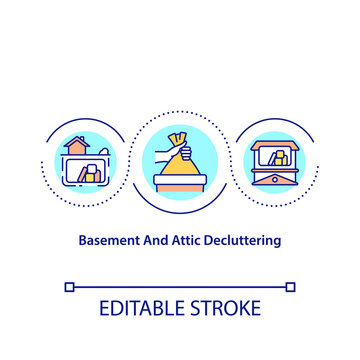 Basement and attic decluttering concept icon. Visualize space in improved state. Pick category of items. Clean idea thin line illustration. Vector isolated outline RGB color drawing. Editable stroke
